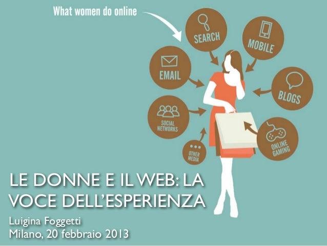 LE DONNE E IL WEB: LAVOCE DELL'ESPERIENZALuigina FoggettiMilano, 20 febbraio 2013