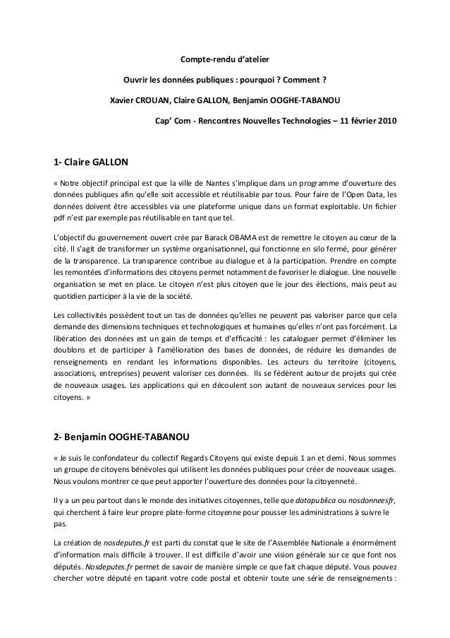 Compte-rendu d'atelier Ouvrir les données publiques : pourquoi ? Comment ? Xavier CROUAN, Claire GALLON, Benjamin OOGHE-TA...