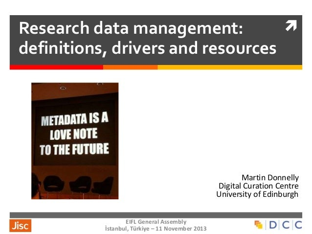 Research data management: definitions, drivers and resources  Martin Donnelly Digital Curation Centre University of Edin...