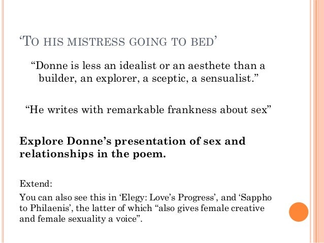 john donne to his mistress going to bed analysis