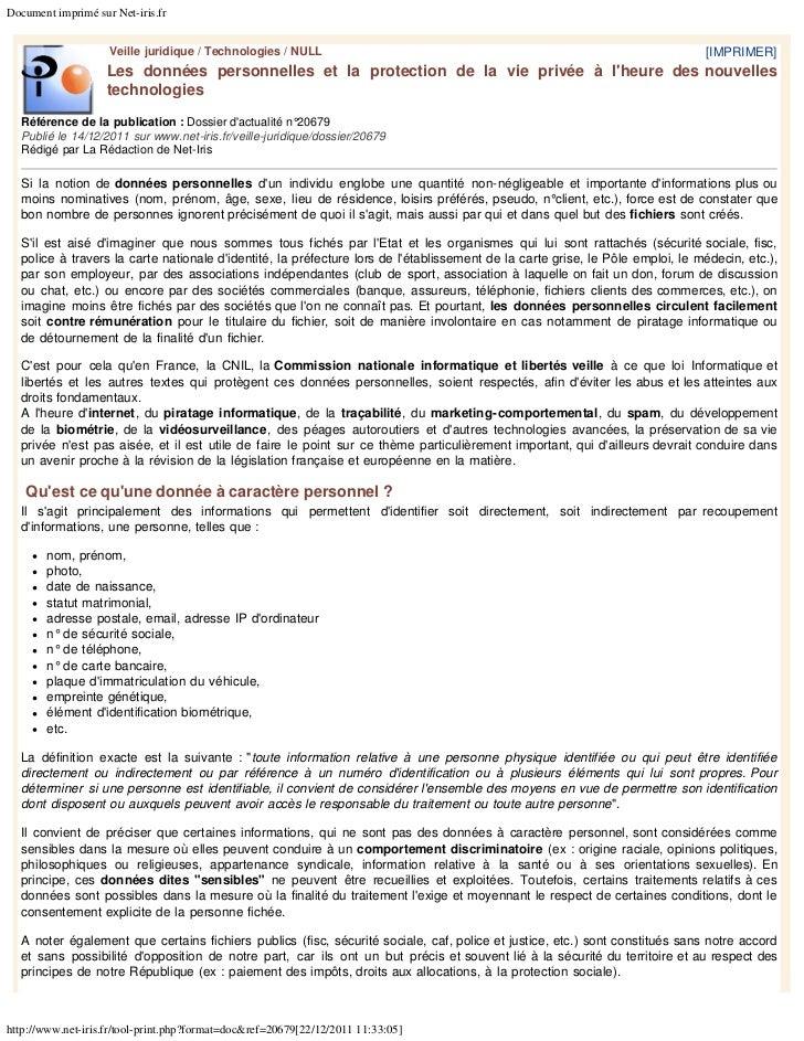 Document imprimé sur Net-iris.fr                    Veille juridique / Technologies / NULL                                ...
