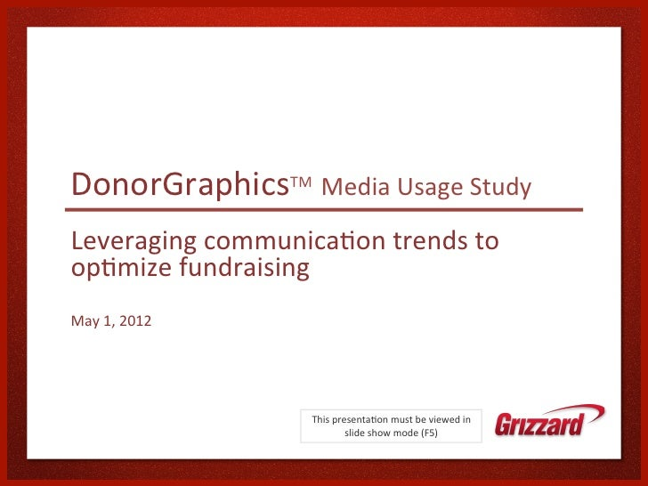 DonorGraphicsTM Media Usage Study Leveraging communica:on trends to op:mize fundraising May 1, 201...
