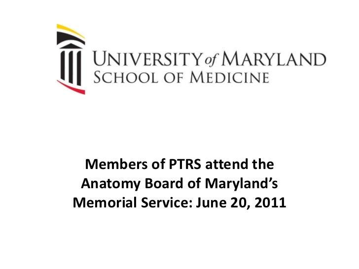 Anatomy Board Of Maryland Memorial Service