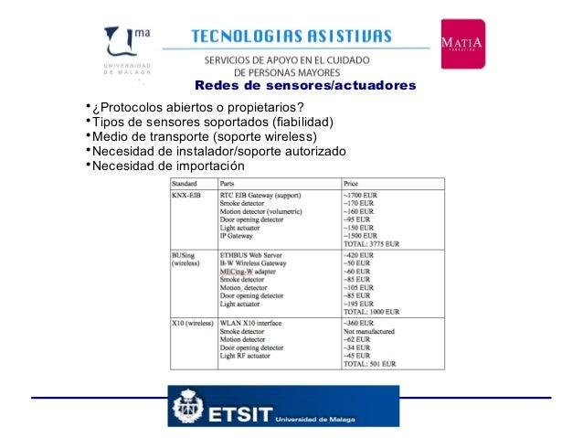 Redes de sensores/actuadores•.  ¿Protocolos abiertos o propietarios?  Tipos de sensores soportados (fiabilidad)  Medio ...