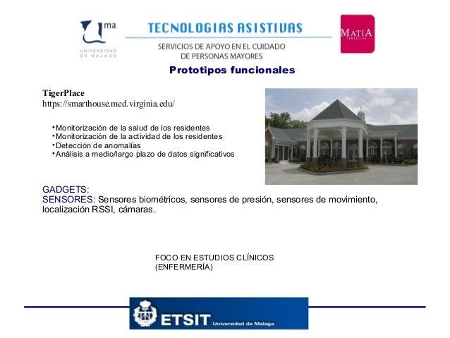 Prototipos funcionales TigerPlace https://smarthouse.med.virginia.edu/ FOCO EN ESTUDIOS CLÍNICOS (ENFERMERÍA)  Monitoriza...