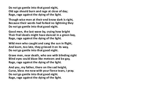 Do not go gentle into that good night thesis statement