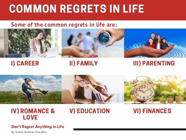 I) CAREER II) FAMILY III) PARENTING IV) ROMANCE &      LOVE V) EDUCATION VI) FINANCES COMMON REGRETS IN LIFE Don't...