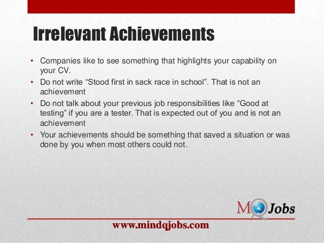 ... 12. Irrelevant Achievementsu2022 ...  Achievements For Resume
