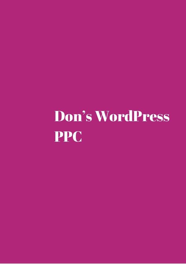Don's WordPress  PPC