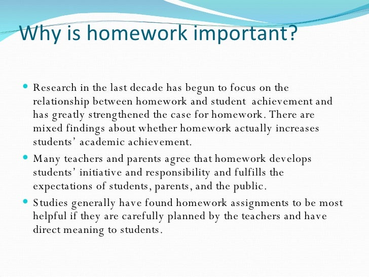 Why homework is good research