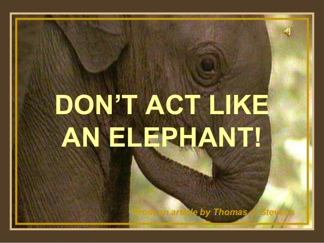 DON'T ACT LIKE AN ELEPHANT! ♫ Turn on your speakers!  From an article by Thomas J. Stevens