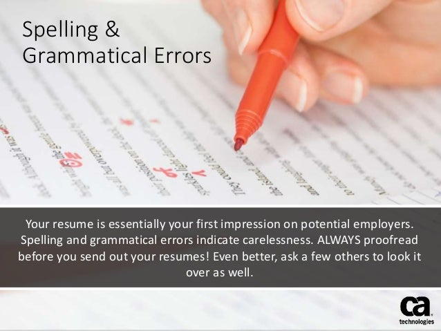 spelling grammatical errors your resume - Resume Spelling
