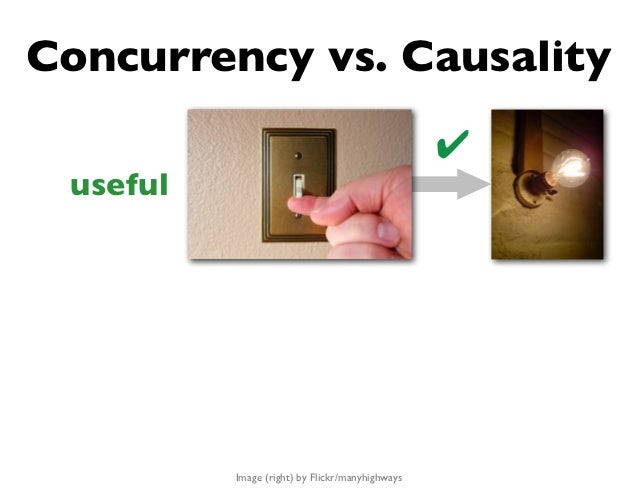 Concurrency vs. Causality                                                 ✔ useful          Image (right) by Flickr/manyhi...
