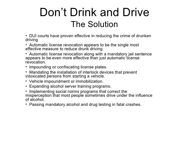 Drunk driving solution essay