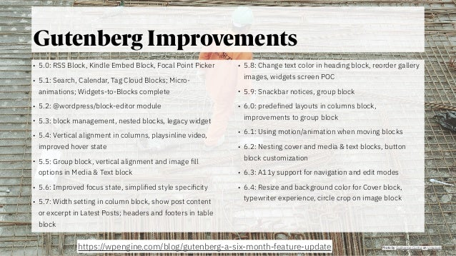 @jeckman Gutenberg Improvements • 5.0: RSS Block, Kindle Embed Block, Focal Point Picker • 5.1: Search, Calendar, Tag Clou...