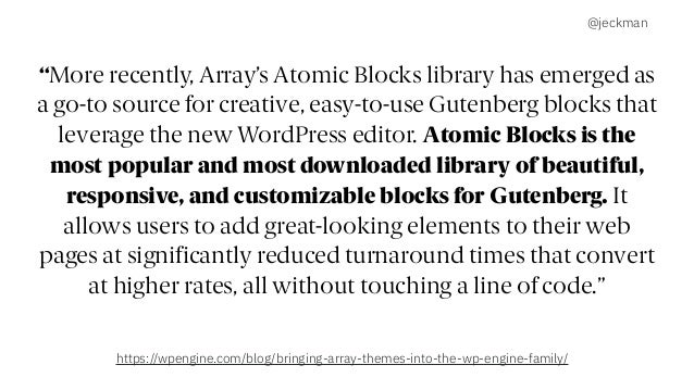 """@jeckman """"More recently, Array's Atomic Blocks library has emerged as a go-to source for creative, easy-to-use Gutenberg b..."""