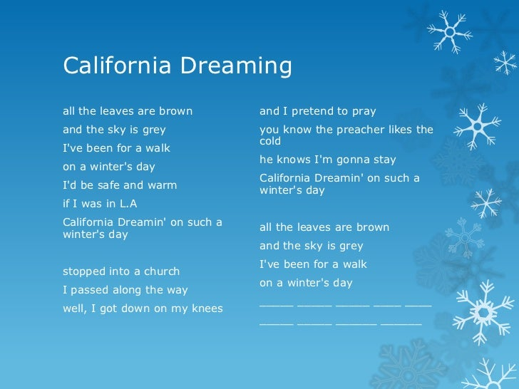 California dreaming lyrics