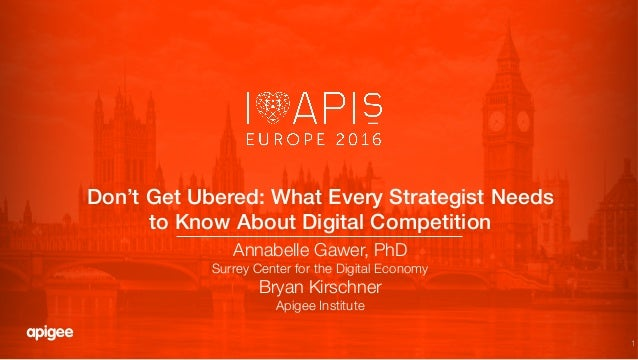 1 Don't Get Ubered: What Every Strategist Needs to Know About Digital Competition! Annabelle Gawer, PhD Surrey Center for ...