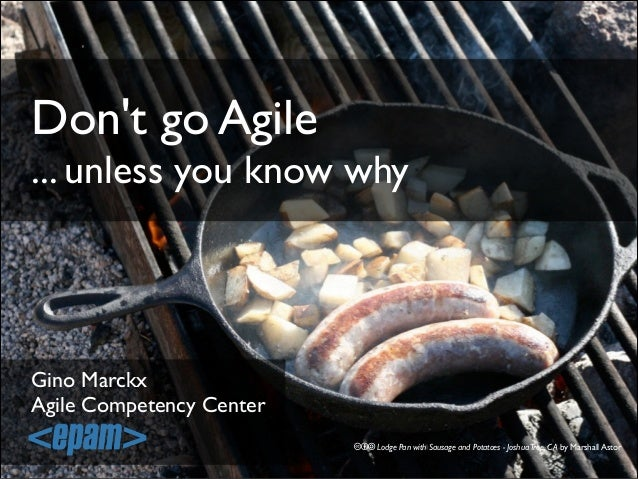 Don't go Agile ... unless you know why  Gino Marckx! Agile Competency Center cba Lodge Pan with Sausage and Potatoes - Jos...