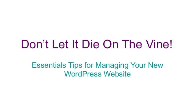 Don't Let It Die On The Vine! Essentials Tips for Managing Your New WordPress Website