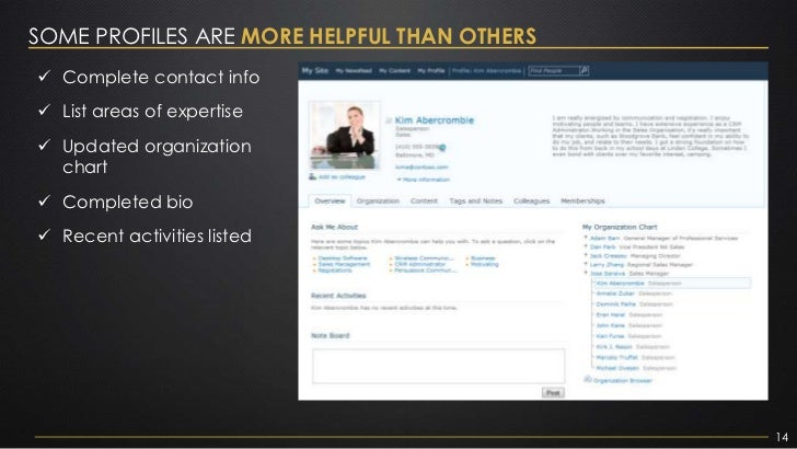 SOME PROFILES ARE MORE HELPFUL THAN OTHERS Complete contact info List areas of expertise Updated organization  chart C...