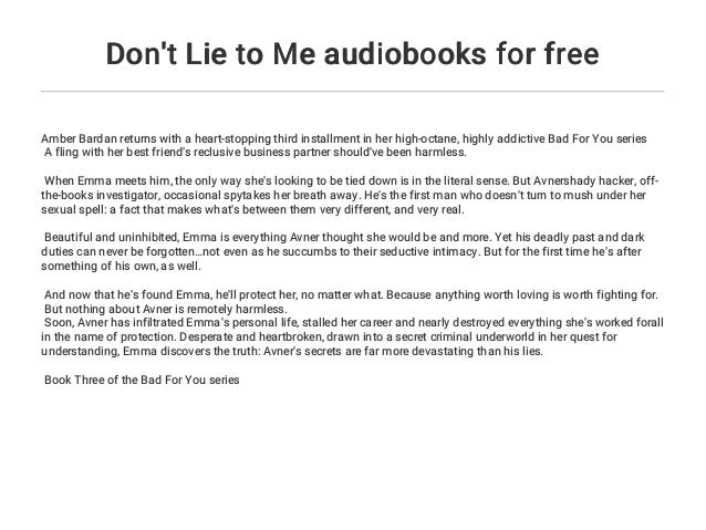 Don't Lie to Me audiobooks for free