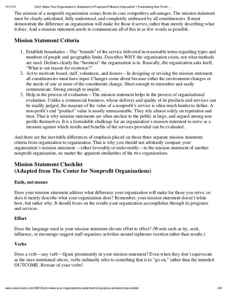 how to write a mission statement for an organization