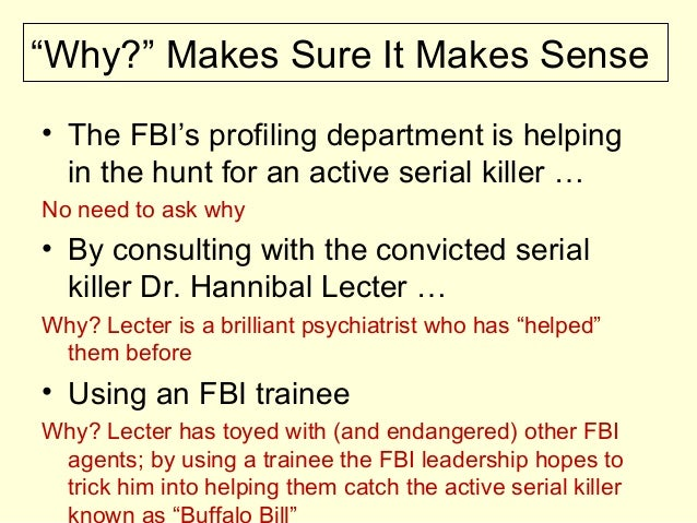 """""""Why?"""" Makes Sure It Makes Sense • The FBI's profiling department is helping in the hunt for an active serial killer … No ..."""