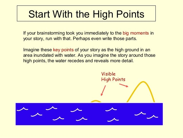 Start With the High Points If your brainstorming took you immediately to the big moments in your story, run with that. Per...