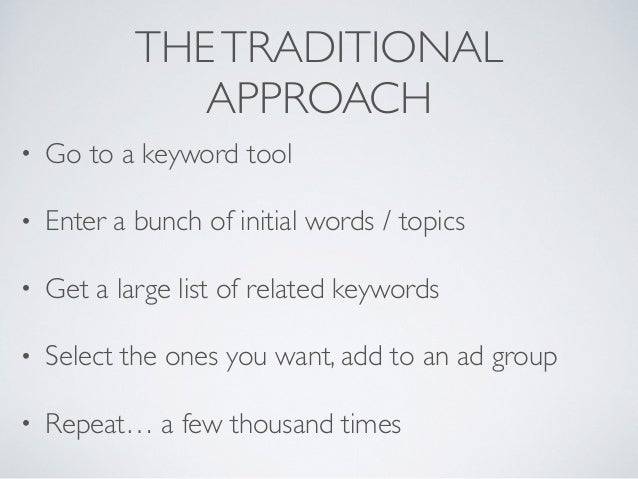 Don't research keywords, generate them... Slide 2