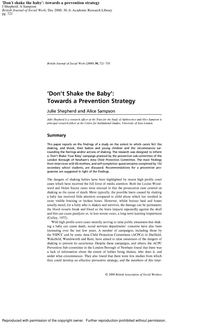 'Don't shake the baby': towards a prevention strategy J Shepherd; A Sampson British Journal of Social Work; Dec 2000; 30, ...