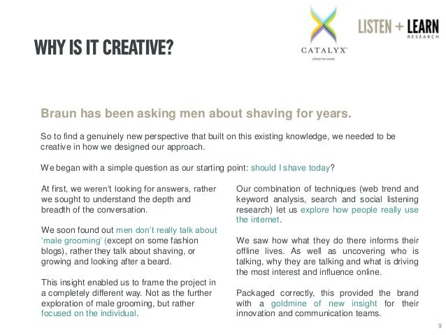 WHY IS IT CREATIVE?  9  Braun has been asking men about shaving for years.  So to find a genuinely new perspective that bu...