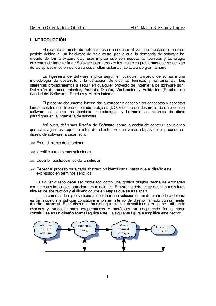 Diseño Orientado a Objetos                                       M.C. Mario Rossainz López  I. INTRODUCCIÓN          El re...