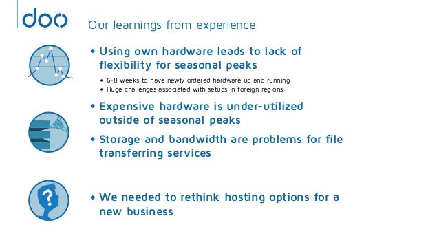 Our learnings from experience• Using own hardware leads to lack offlexibility for seasonal peaks• 6-8 weeks to have newly ...