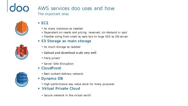 AWS services doo uses and howThe important ones• EC2• As many instances as needed• Dependent on needs and pricing: reserve...