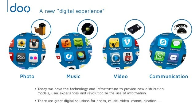 CommunicationVideoMusicPhoto•Today we have the technology and infrastructure to provide new distributionmodels, user exper...
