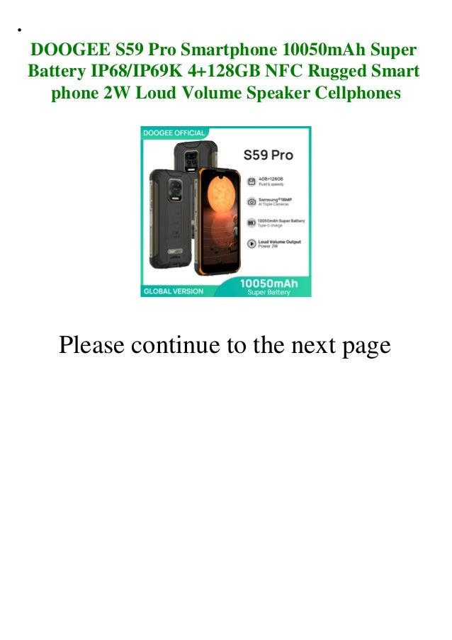 Doogee s59 pro smartphone 10050m ah super battery ip68ip69k 4+128gb nfc rugged smart phone 2w loud volume speaker cellphones  Slide 2