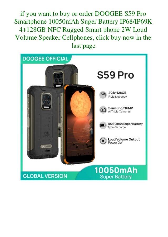 Doogee s59 pro smartphone 10050m ah super battery ip68ip69k 4+128gb nfc rugged smart phone 2w loud volume speaker cellphones  Slide 3