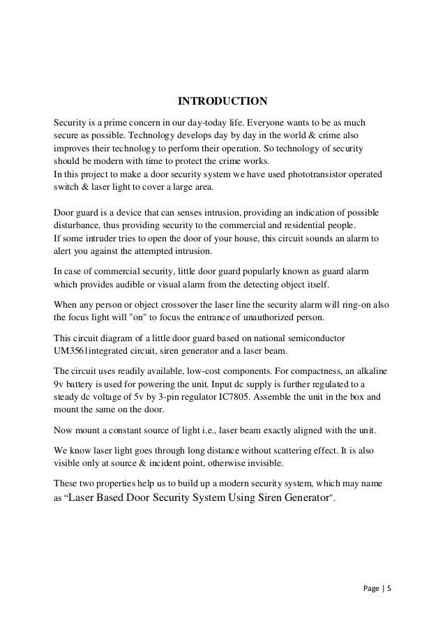 Laser Based Door Security System Using Siren Generator