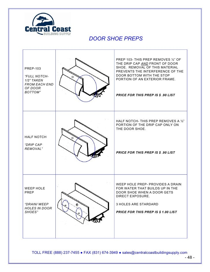 "DOOR SHOE PREPS                                                  PREP 103- THIS PREP REMOVES ½"" OF                        ..."