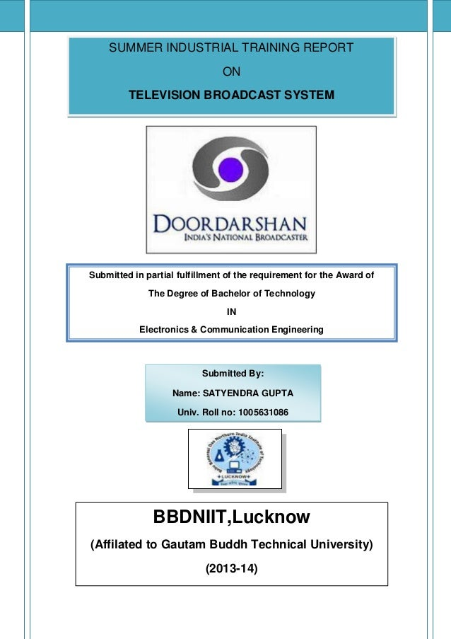 Doordarshan Industrial Training Report