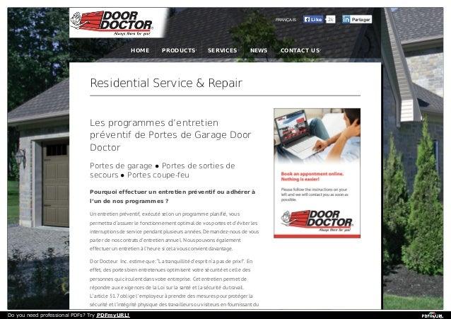 FRANÇAIS  HOME  PRODUCTS  SERVICES  NEWS  Residential Service & Repair Les programmes d'entretien préventif de Portes de G...