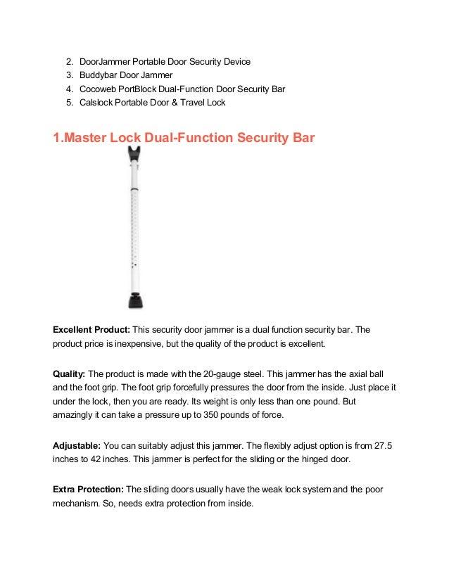 Master Lock Dual-Function Security Bar; 4. 2. DoorJammer Portable Door ...  sc 1 st  SlideShare & Door jammer of 2017 top quality product reviews