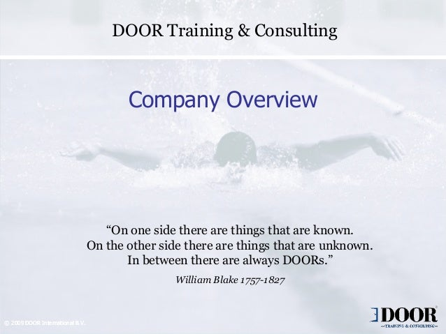 """DOOR Training & Consulting                                        Company Overview                                    """"On ..."""