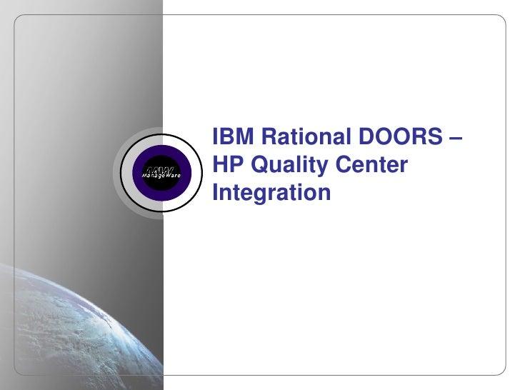 IBM Rational DOORS – HP Quality Center Integration<br />1<br />