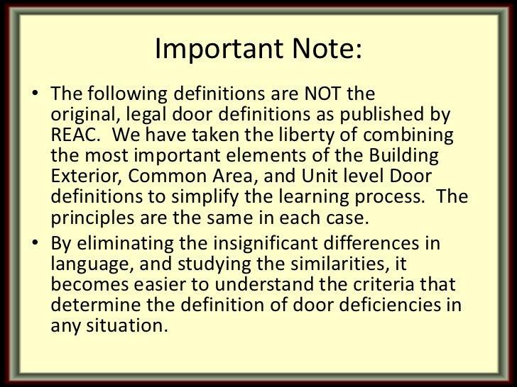 Reac Inspection Door Defects