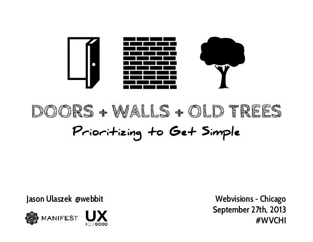 DOORS + WALLS + OLD TREES Prioritizing to Get Simple Jason Ulaszek @webbit Webvisions - Chicago September 27th, 2013 #WVCHI