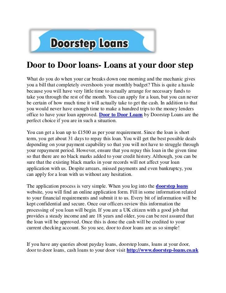 Door to Door loans- Loans at your door stepWhat do you do when your car