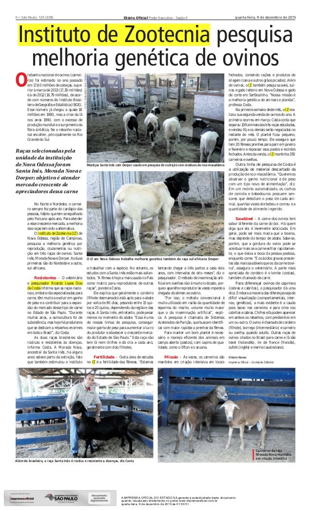 Diário Oficial Poder Executivo - Seção IIII – São Paulo, 125 (228) quarta-feira, 9 de dezembro de 2015 Instituto de Zootecn...
