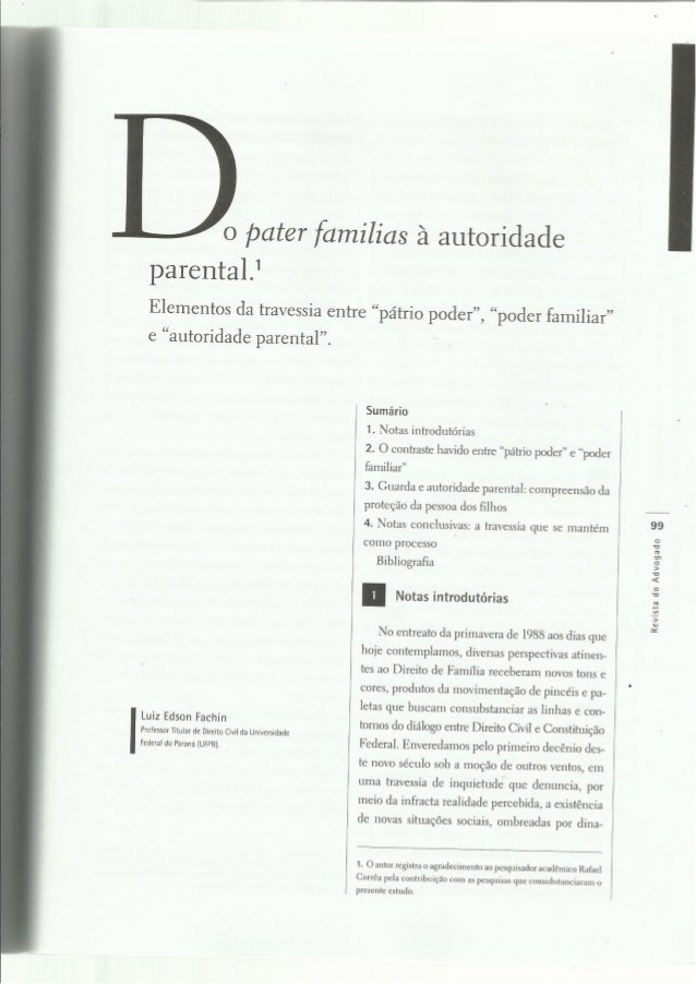 Do pater familias à autoridade parental